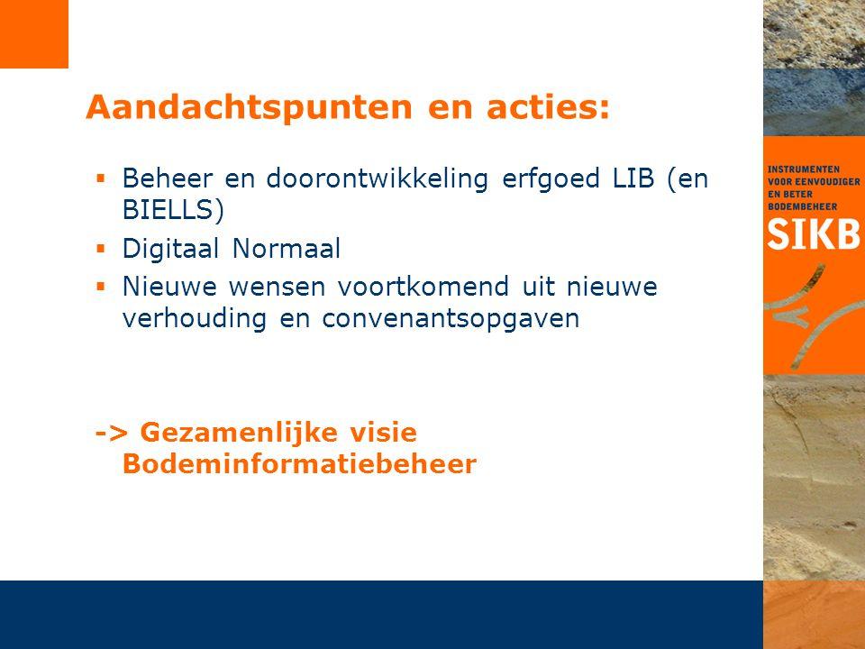 Aandachtspunten en acties:  Beheer en doorontwikkeling erfgoed LIB (en BIELLS)  Digitaal Normaal  Nieuwe wensen voortkomend uit nieuwe verhouding e