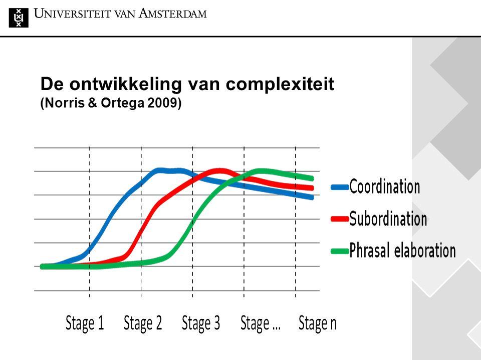 De ontwikkeling van complexiteit (Norris & Ortega 2009)
