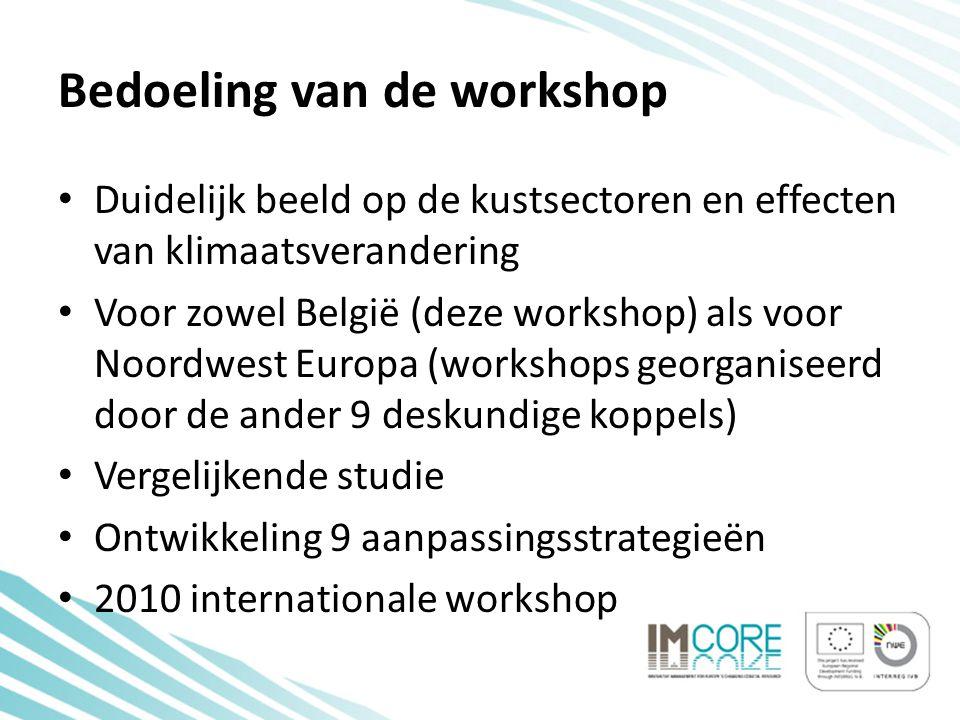 Bedoeling van de workshop • Duidelijk beeld op de kustsectoren en effecten van klimaatsverandering • Voor zowel België (deze workshop) als voor Noordwest Europa (workshops georganiseerd door de ander 9 deskundige koppels) • Vergelijkende studie • Ontwikkeling 9 aanpassingsstrategieën • 2010 internationale workshop