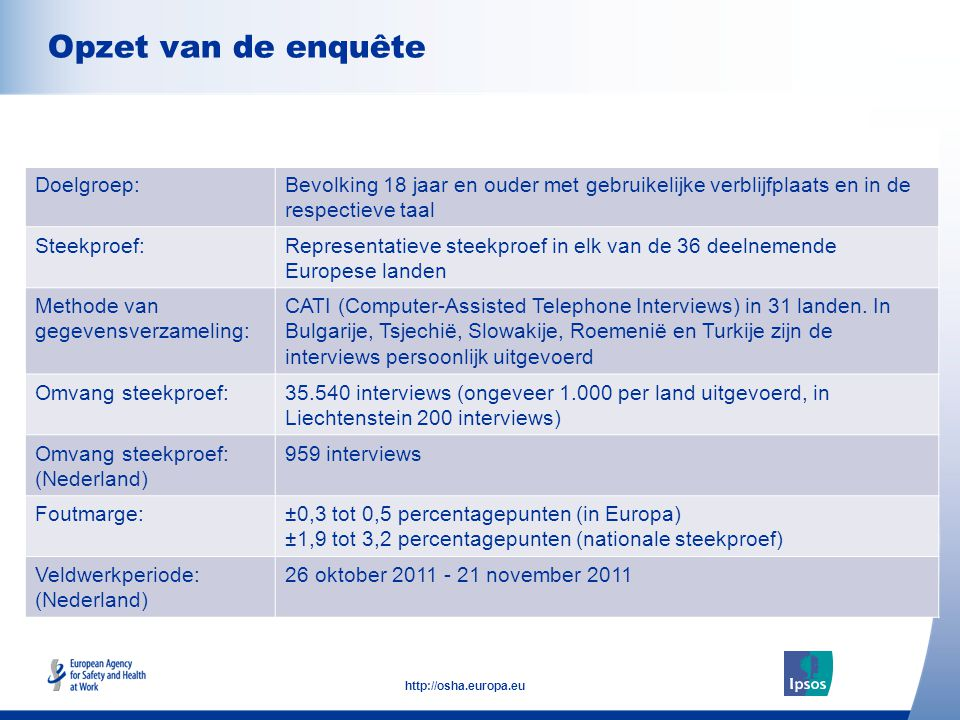 2 http://osha.europa.eu Click to add text here Opzet van de enquête Note: insert graphs, tables, images here Doelgroep:Bevolking 18 jaar en ouder met