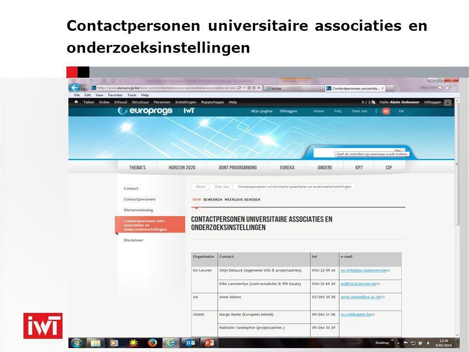 Contactpersonen universitaire associaties en onderzoeksinstellingen 7