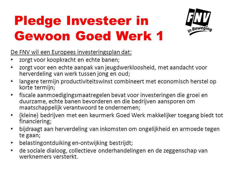 Pledge Investeer in Gewoon Goed Werk 2 Pledge Europees investeringsplan: Ik beloof mij in te zetten voor een Europees investeringsplan dat werkt!