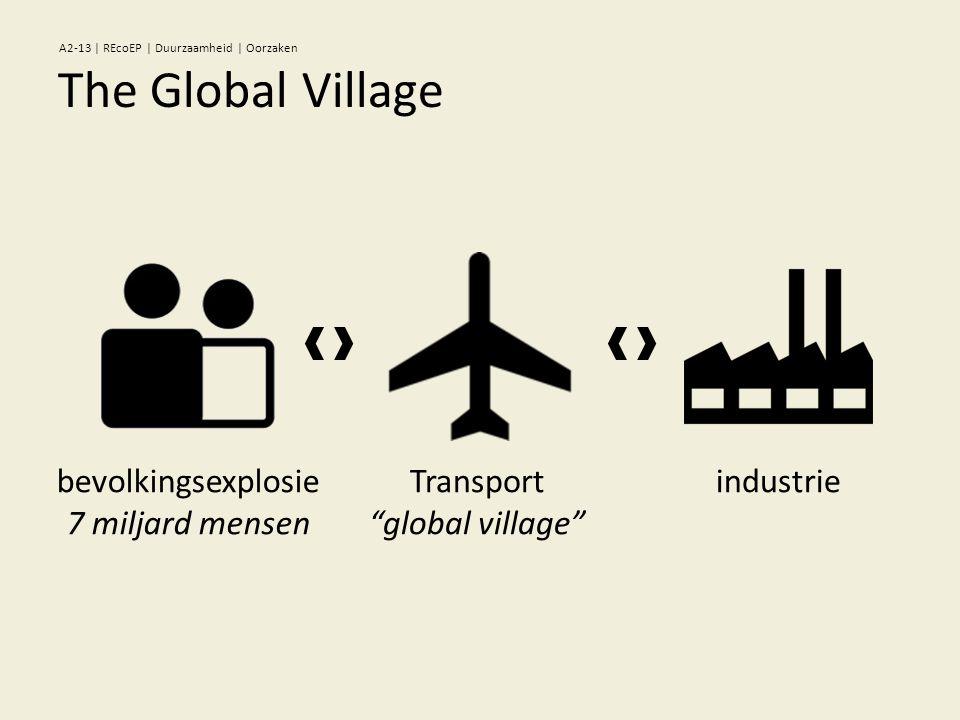 "Transport ""global village"" industriebevolkingsexplosie 7 miljard mensen The Global Village A2-13 | REcoEP | Duurzaamheid | Oorzaken"