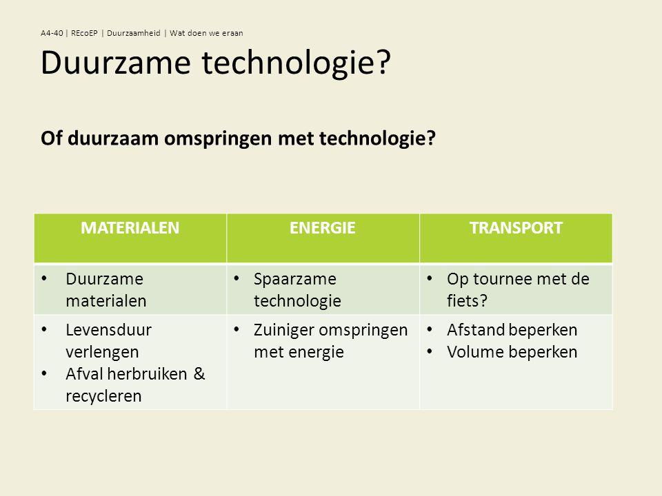 MATERIALENENERGIETRANSPORT • Duurzame materialen • Spaarzame technologie • Op tournee met de fiets.