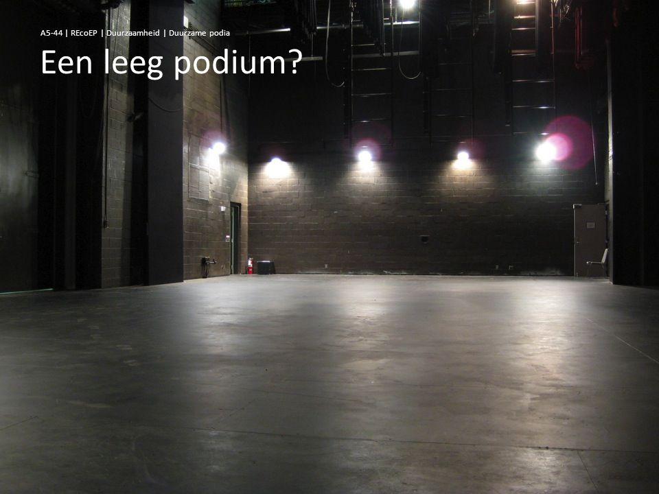 Een leeg podium? A5-44 | REcoEP | Duurzaamheid | Duurzame podia