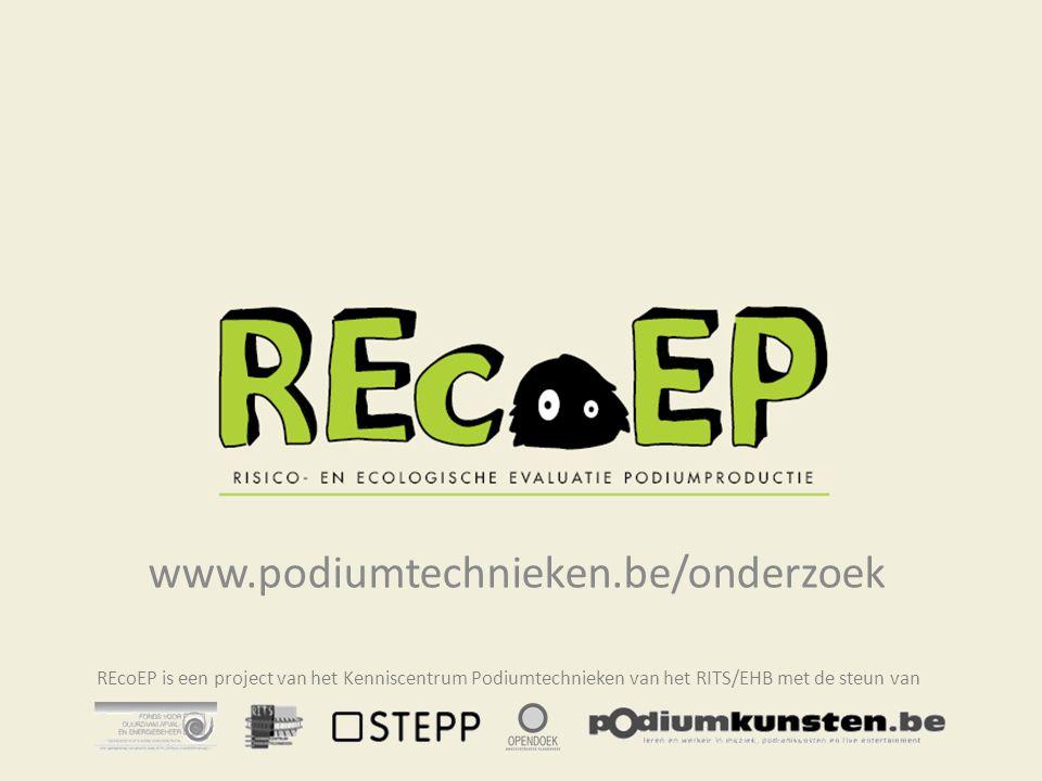 www.podiumtechnieken.be/onderzoek REcoEP is een project van het Kenniscentrum Podiumtechnieken van het RITS/EHB met de steun van