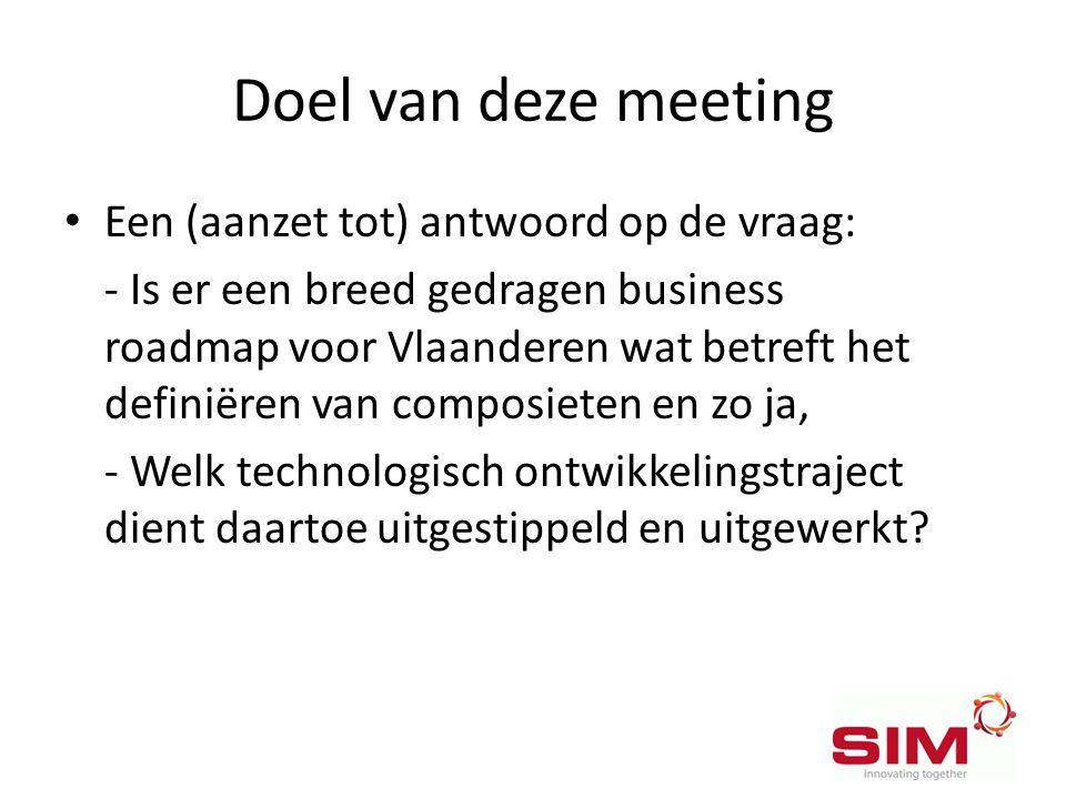 Doel van deze meeting • Een (aanzet tot) antwoord op de vraag: - Is er een breed gedragen business roadmap voor Vlaanderen wat betreft het definiëren