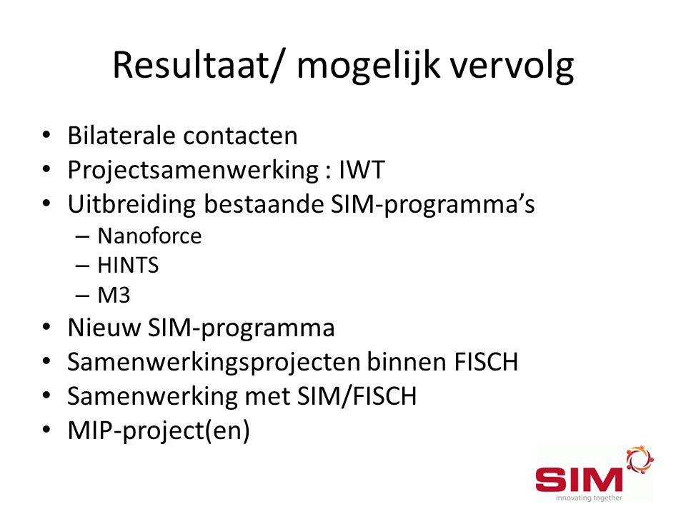 Resultaat/ mogelijk vervolg • Bilaterale contacten • Projectsamenwerking : IWT • Uitbreiding bestaande SIM-programma's – Nanoforce – HINTS – M3 • Nieu