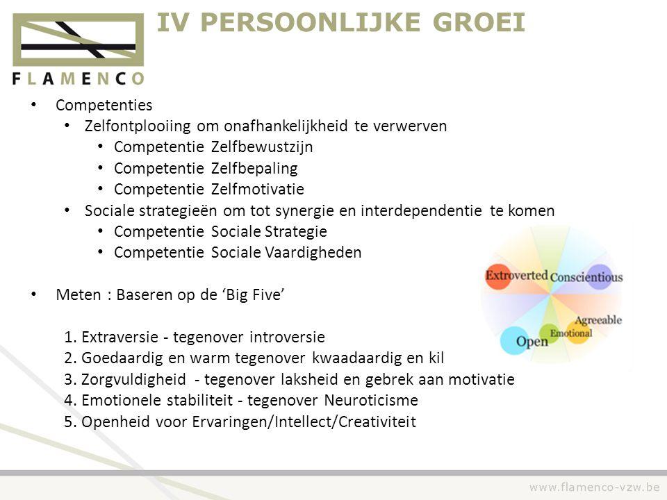 IV PERSOONLIJKE GROEI • Competenties • Zelfontplooiing om onafhankelijkheid te verwerven • Competentie Zelfbewustzijn • Competentie Zelfbepaling • Com