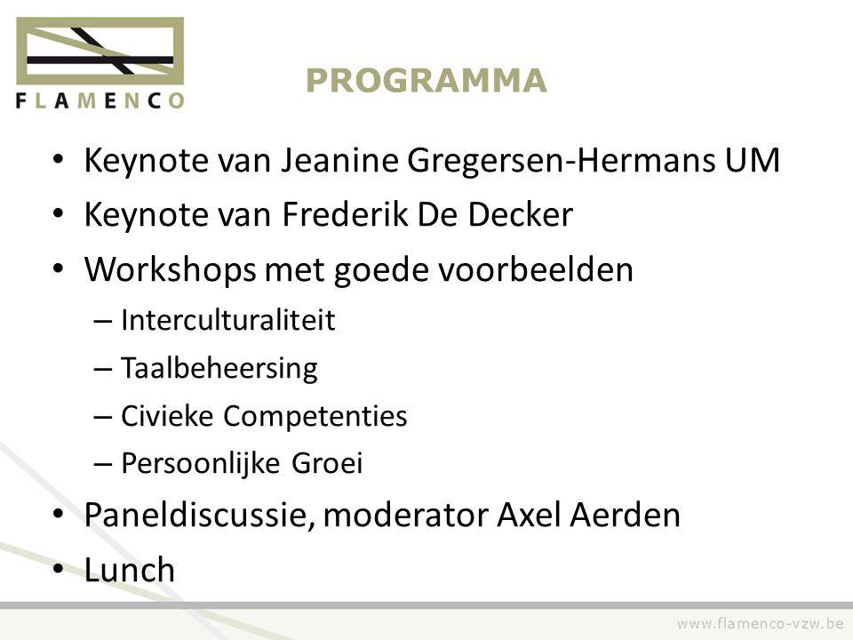 PROGRAMMA • Keynote van Jeanine Gregersen-Hermans UM • Keynote van Frederik De Decker • Workshops met goede voorbeelden – Interculturaliteit – Taalbeh