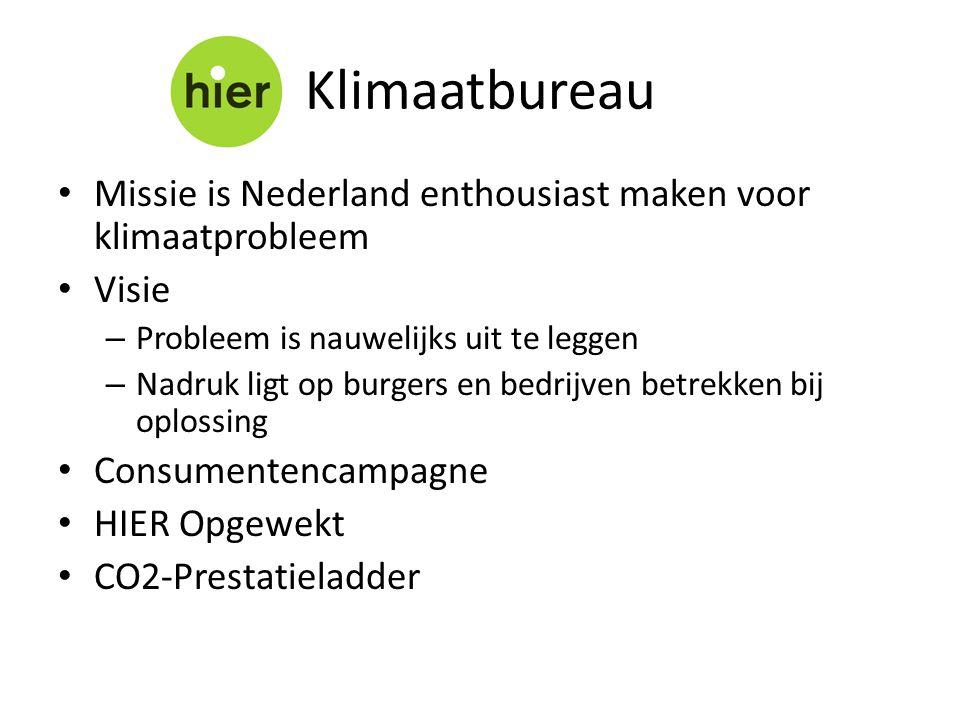 • Missie is Nederland enthousiast maken voor klimaatprobleem • Visie – Probleem is nauwelijks uit te leggen – Nadruk ligt op burgers en bedrijven betrekken bij oplossing • Consumentencampagne • HIER Opgewekt • CO2-Prestatieladder