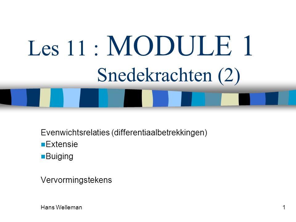 Hans Welleman1 Les 11 : MODULE 1 Snedekrachten (2) Evenwichtsrelaties (differentiaalbetrekkingen)  Extensie  Buiging Vervormingstekens