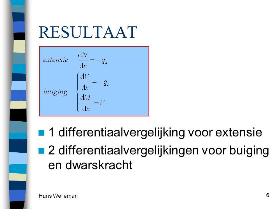 Hans Welleman 7 Conclusies  Helling van de N-lijn (dN/dx) is gelijk aan min de verdeelde belasting in x-richting  Helling van de V-lijn (dV/dx) is gelijk aan min de verdeelde belasting in z-richting  Helling van de M-lijn (dM/dx) is gelijk aan de dwarskracht (V)
