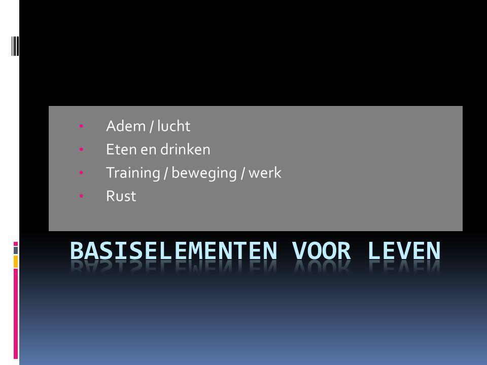 • Adem / lucht • Eten en drinken • Training / beweging / werk • Rust