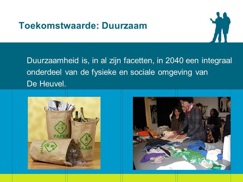 Toekomstwaarde: Duurzaam Duurzaamheid is, in al zijn facetten, in 2040 een integraal onderdeel van de fysieke en sociale omgeving van De Heuvel.