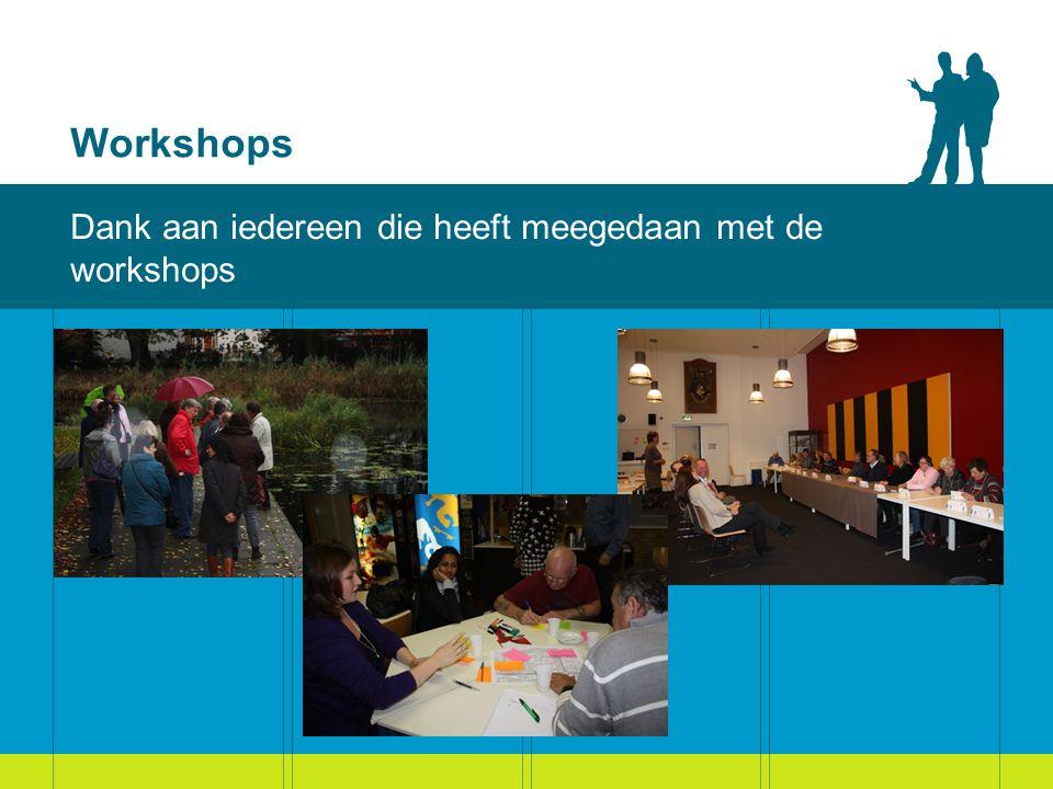 Workshops Dank aan iedereen die heeft meegedaan met de workshops