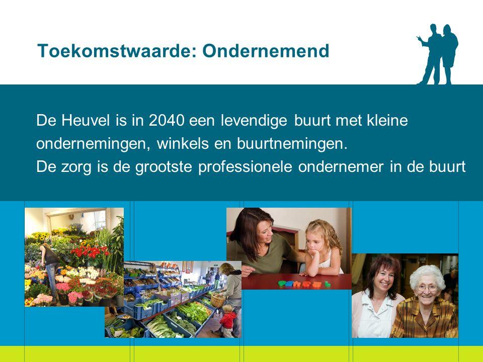 Toekomstwaarde: Ondernemend De Heuvel is in 2040 een levendige buurt met kleine ondernemingen, winkels en buurtnemingen.