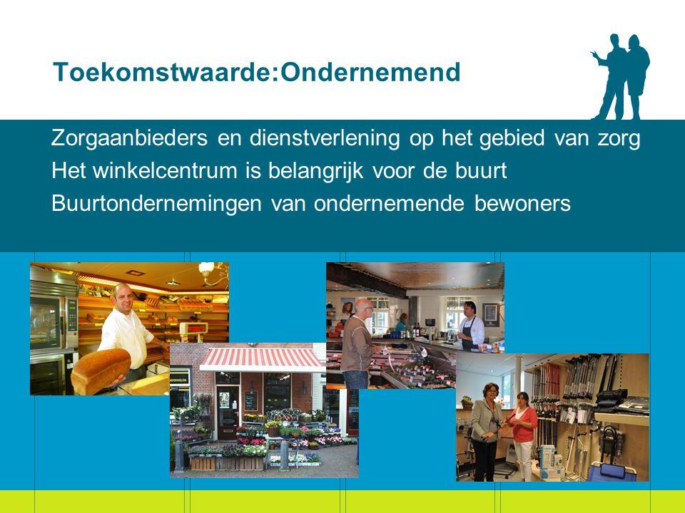 Toekomstwaarde:Ondernemend Zorgaanbieders en dienstverlening op het gebied van zorg Het winkelcentrum is belangrijk voor de buurt Buurtondernemingen van ondernemende bewoners