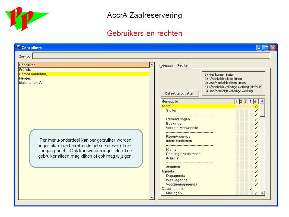 AccrA Zaalreservering Gebruikers en rechten Per menu-onderdeel kan per gebruiker worden ingesteld of de betreffende gebruiker wel of niet toegang heef