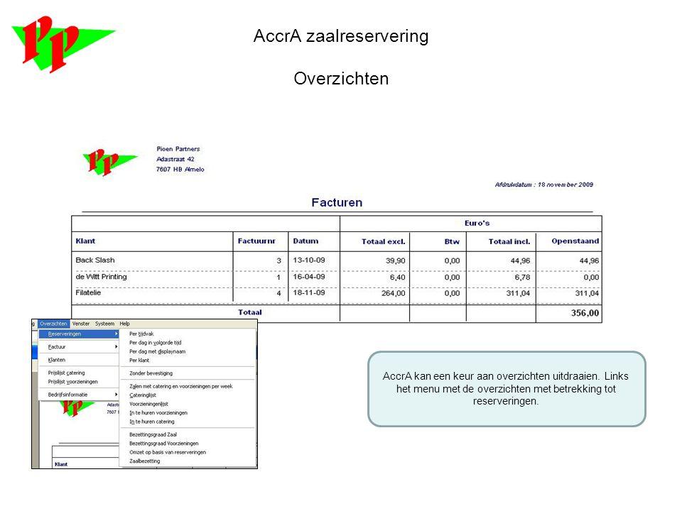 AccrA zaalreservering Overzichten AccrA kan een keur aan overzichten uitdraaien. Links het menu met de overzichten met betrekking tot reserveringen.