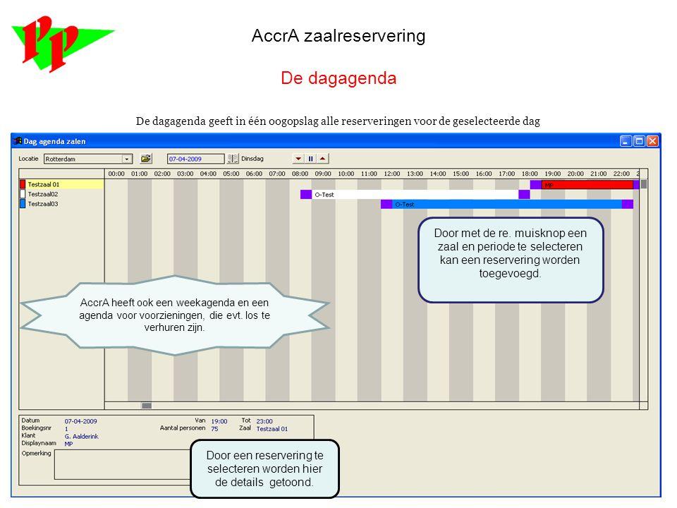AccrA zaalreservering Het reserveringenscherm: Alle reserveringsinformatie.