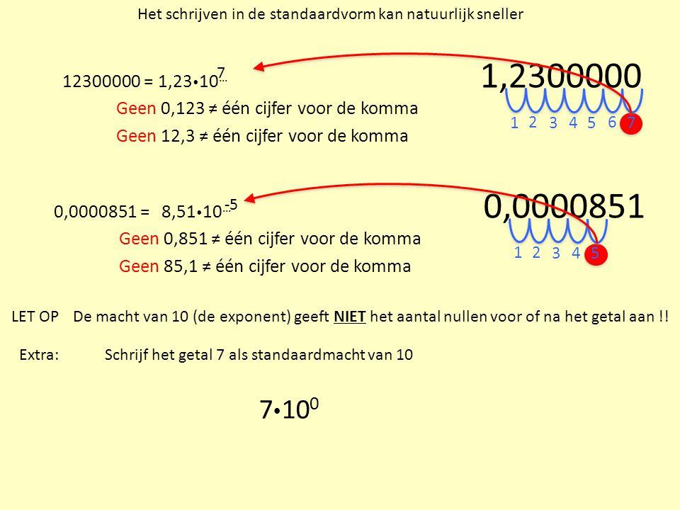 Het schrijven in de standaardvorm kan natuurlijk sneller 12300000 =1,23  10 … Geen 0,123 ≠ één cijfer voor de komma Geen 12,3 ≠ één cijfer voor de ko