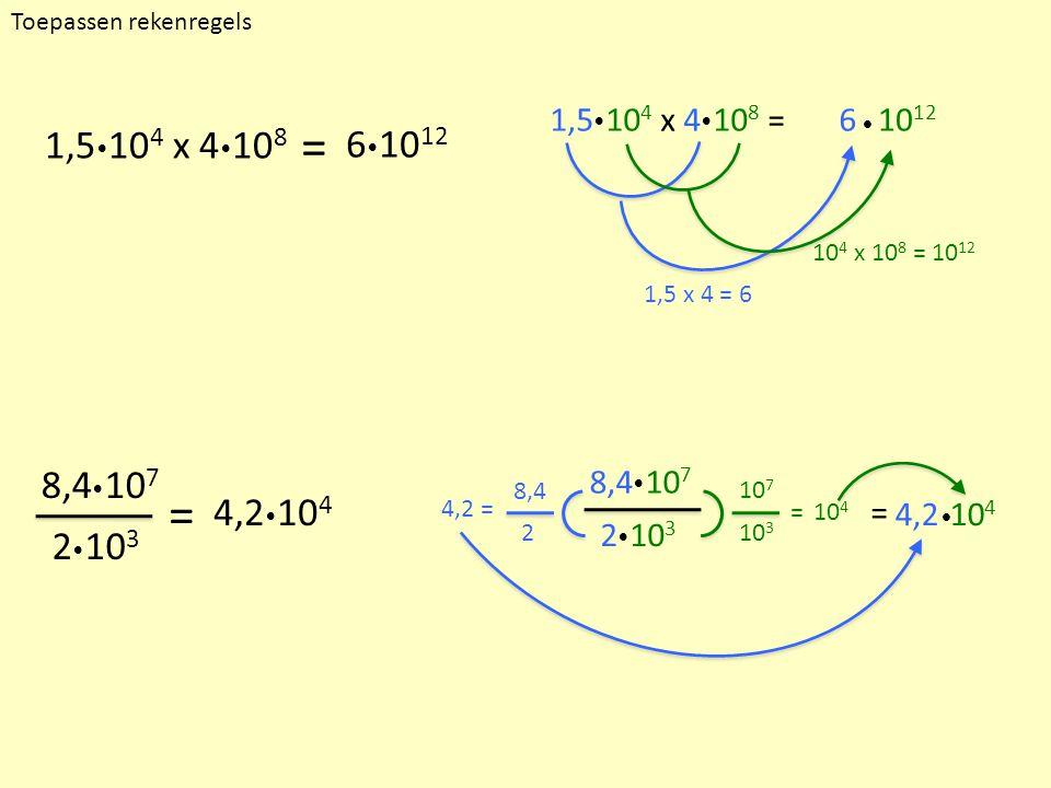 1,5  10 4 x 4  10 8 =610 12  8,4  10 7 2  10 3 1,5 x 4 = 6 10 4 x 10 8 = 10 12 = 4,2 = 10 7 10 3 = 10 4 8,4 2 4,210 4  Toepassen rekenregels 1,5