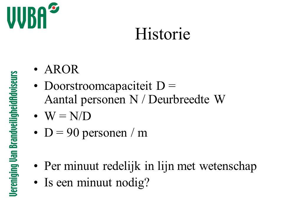Historie •AROR •Doorstroomcapaciteit D = Aantal personen N / Deurbreedte W •W = N/D •D = 90 personen / m •Per minuut redelijk in lijn met wetenschap •Is een minuut nodig