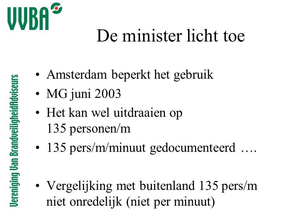 De minister licht toe •Amsterdam beperkt het gebruik •MG juni 2003 •Het kan wel uitdraaien op 135 personen/m •135 pers/m/minuut gedocumenteerd ….
