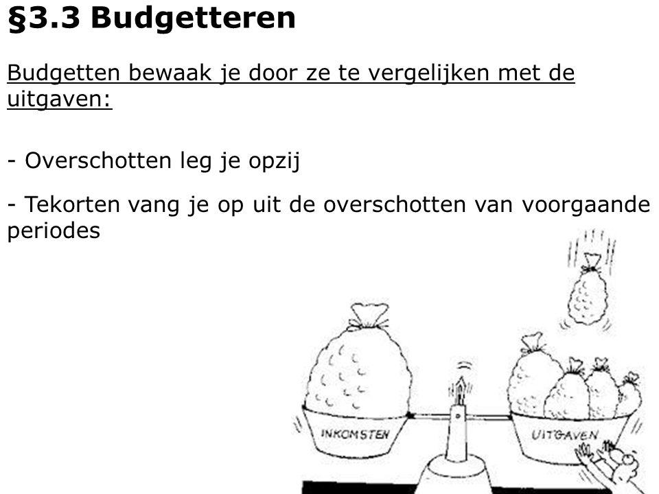 Budgetten bewaak je door ze te vergelijken met de uitgaven: - Overschotten leg je opzij §3.3 Budgetteren - Tekorten vang je op uit de overschotten van