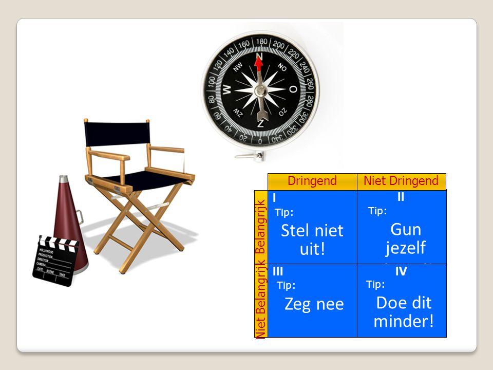 II Belangrijk Niet Belangrijk DringendNiet Dringend Maar voor dringende zaken die niet belangrijk zijn kan het onderstaande besef helpen! Tip: Gun jez