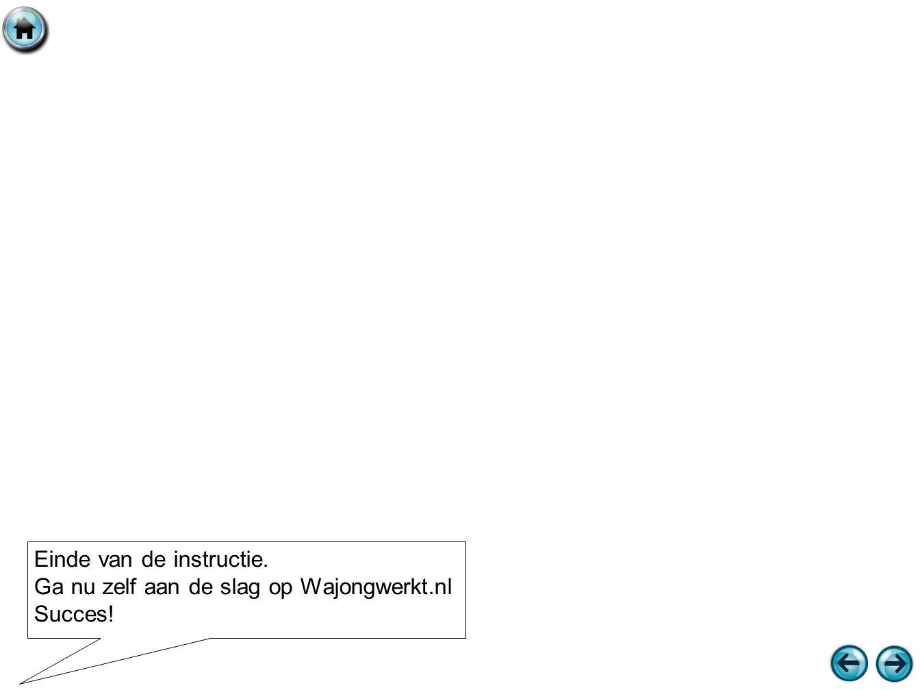 Einde van de instructie. Ga nu zelf aan de slag op Wajongwerkt.nl Succes!
