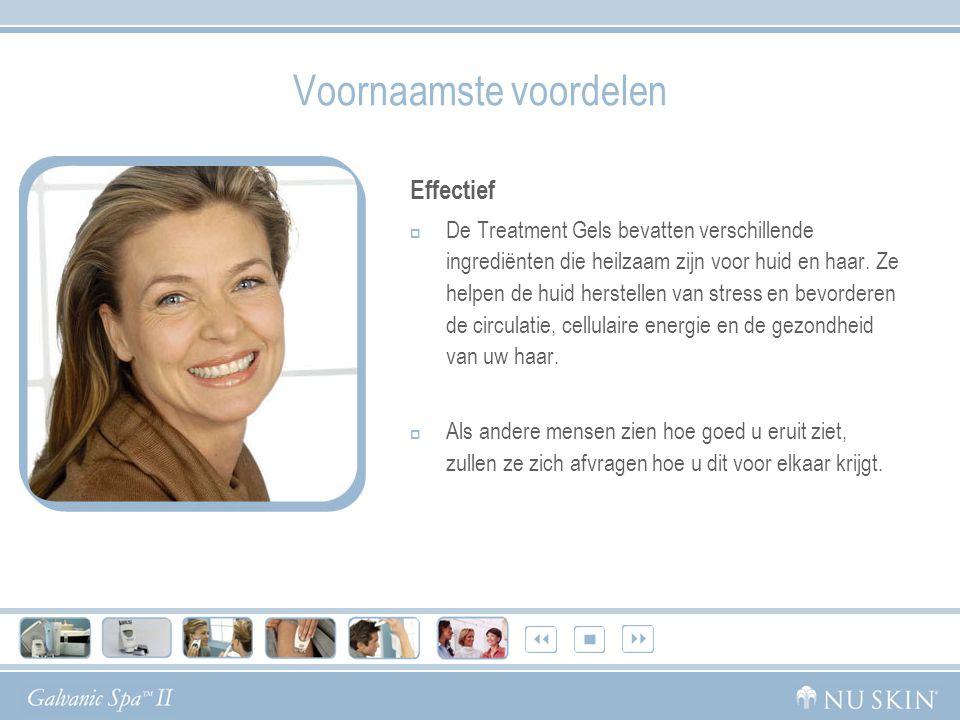 Voornaamste voordelen Effectief  De Treatment Gels bevatten verschillende ingrediënten die heilzaam zijn voor huid en haar.