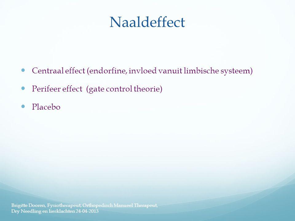 Naaldeffect  Centraal effect (endorfine, invloed vanuit limbische systeem)  Perifeer effect (gate control theorie)  Placebo Brigitte Dooren, Fysiot