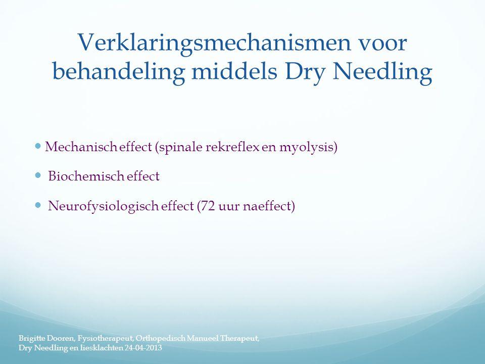 Verklaringsmechanismen voor behandeling middels Dry Needling  Mechanisch effect (spinale rekreflex en myolysis)  Biochemisch effect  Neurofysiologi