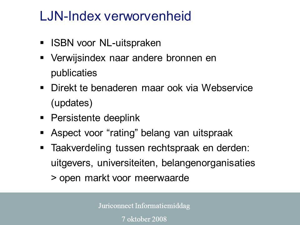 LJN-Index verworvenheid  ISBN voor NL-uitspraken  Verwijsindex naar andere bronnen en publicaties  Direkt te benaderen maar ook via Webservice (upd