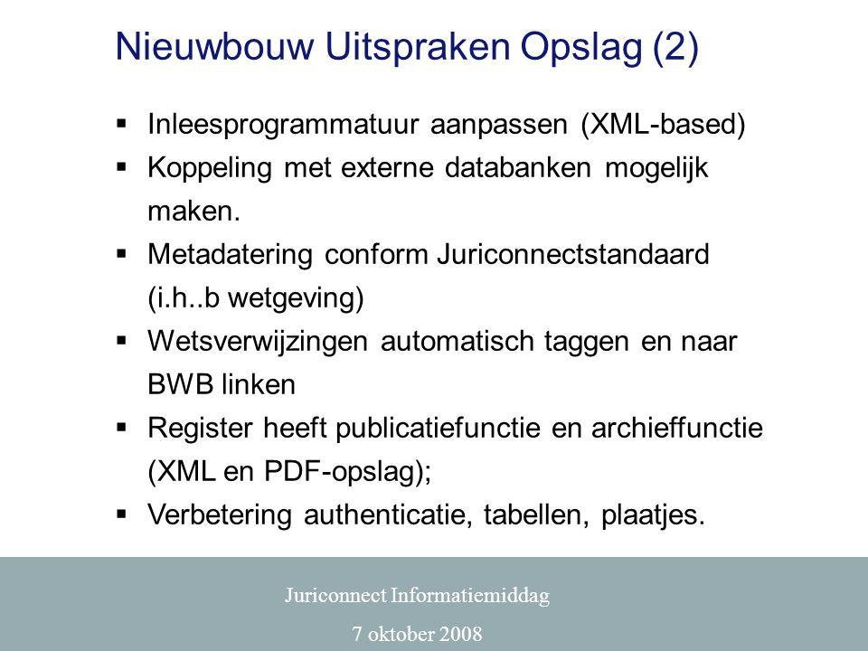 Nieuwbouw Uitspraken Opslag (2)  Inleesprogrammatuur aanpassen (XML-based)  Koppeling met externe databanken mogelijk maken.  Metadatering conform