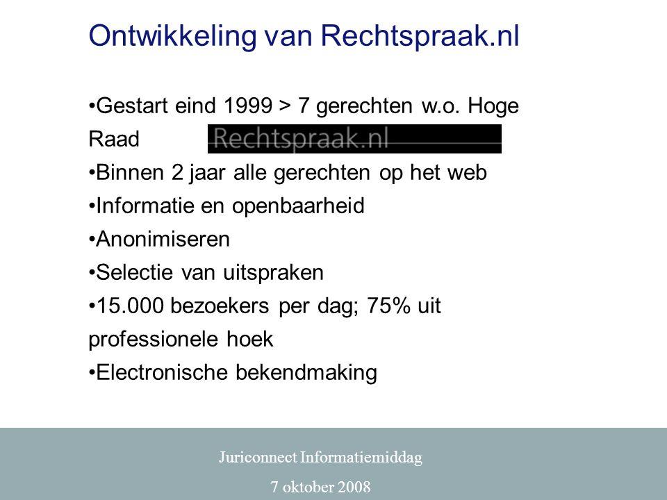 Ontwikkeling van Rechtspraak.nl •Gestart eind 1999 > 7 gerechten w.o. Hoge Raad •Binnen 2 jaar alle gerechten op het web •Informatie en openbaarheid •