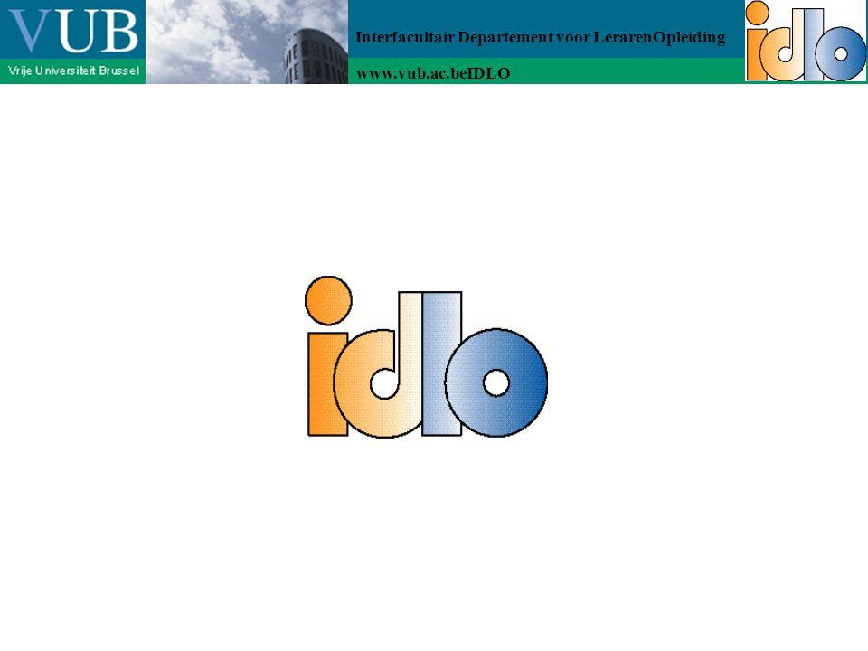 Interfacultair Departement voor LerarenOpleiding www.vub.ac.beIDLO