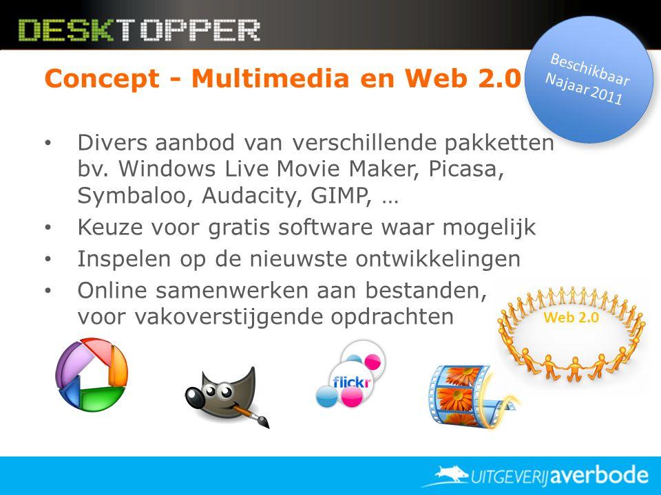 Concept - Multimedia en Web 2.0 • Divers aanbod van verschillende pakketten bv. Windows Live Movie Maker, Picasa, Symbaloo, Audacity, GIMP, … • Keuze
