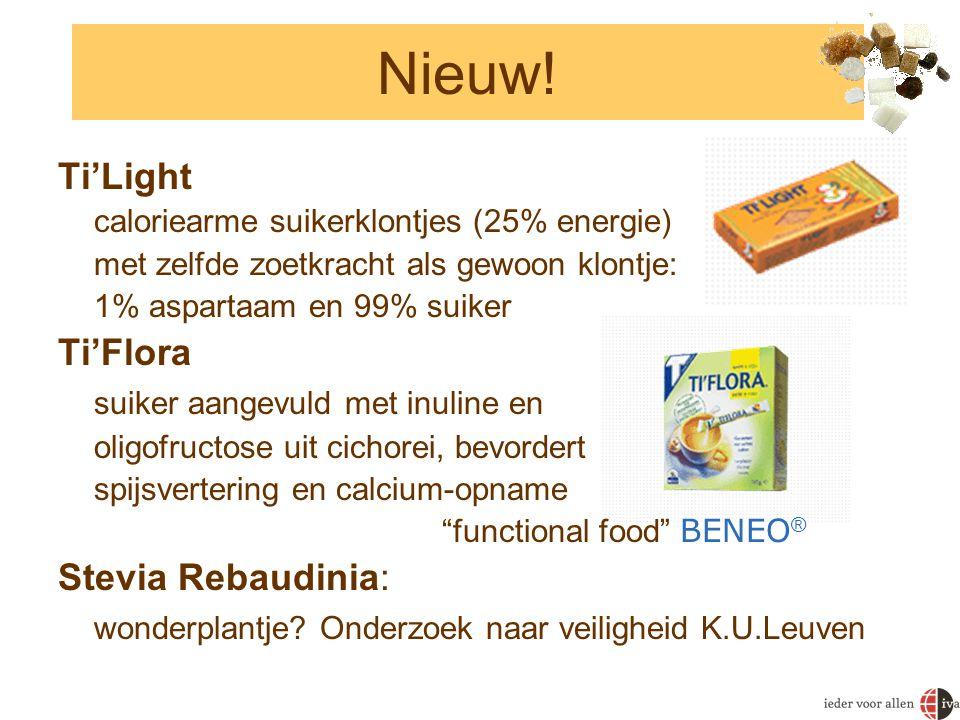 Nieuw! Ti'Light caloriearme suikerklontjes (25% energie) met zelfde zoetkracht als gewoon klontje: 1% aspartaam en 99% suiker Ti'Flora suiker aangevul