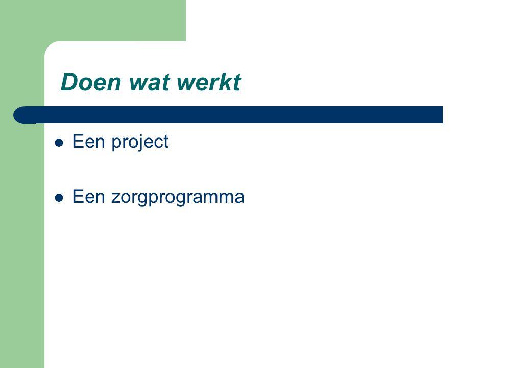 Het hier en nu: de ontwikkeling van het zorgprogramma Doen wat werkt Start en verloop  De vijf modulen zijn operationeel (vanaf 1 oktober 2006)  Bovenprovinciaal meldpunt operationeel  Jongeren en hun systeem uit de drie provincies nemen deel.
