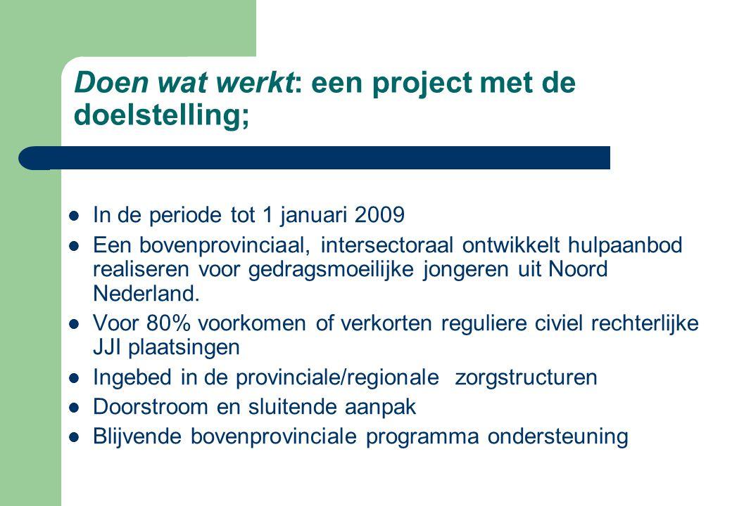 Doen wat werkt: een project met de doelstelling;  In de periode tot 1 januari 2009  Een bovenprovinciaal, intersectoraal ontwikkelt hulpaanbod reali