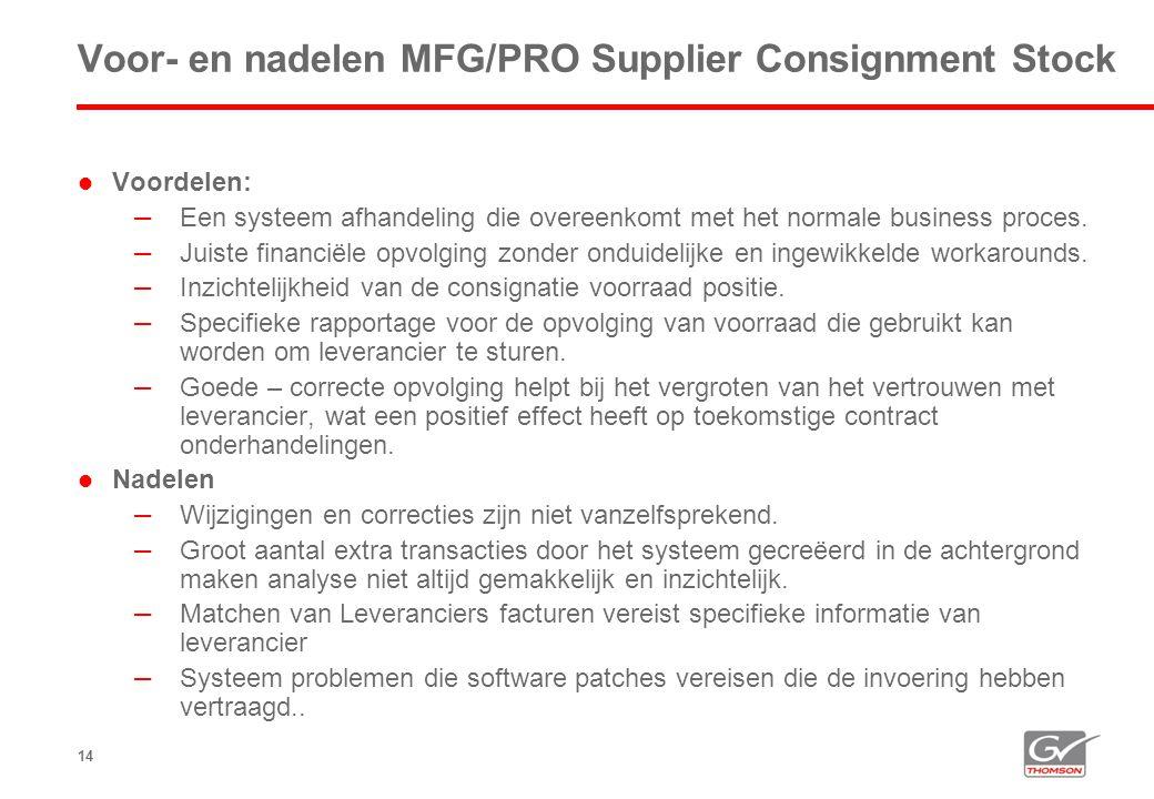 14 Voor- en nadelen MFG/PRO Supplier Consignment Stock  Voordelen: – Een systeem afhandeling die overeenkomt met het normale business proces. – Juist