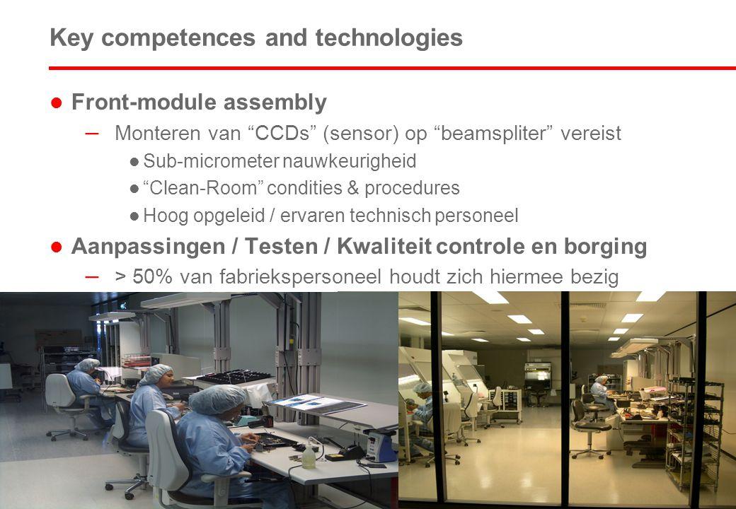 6 Key competences and technologies  Front-module assembly – Monteren van CCDs (sensor) op beamspliter vereist  Sub-micrometer nauwkeurigheid  Clean-Room condities & procedures  Hoog opgeleid / ervaren technisch personeel  Aanpassingen / Testen / Kwaliteit controle en borging – > 50% van fabriekspersoneel houdt zich hiermee bezig