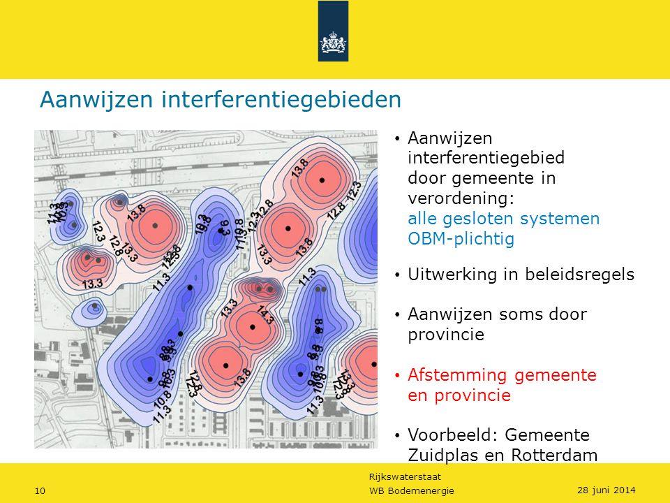 Rijkswaterstaat 10WB Bodemenergie • Aanwijzen interferentiegebied door gemeente in verordening: alle gesloten systemen OBM-plichtig • Uitwerking in be