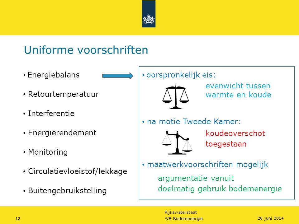 Rijkswaterstaat 12WB Bodemenergie Uniforme voorschriften • oorspronkelijk eis: evenwicht tussen warmte en koude • na motie Tweede Kamer: koudeoverscho