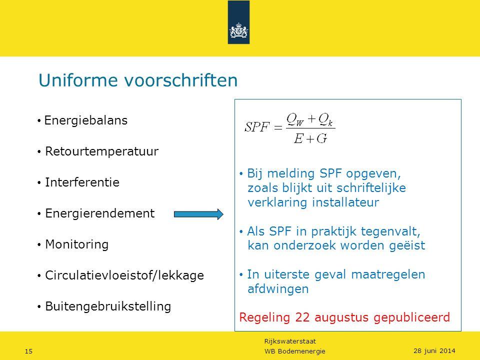 Rijkswaterstaat 15WB Bodemenergie Uniforme voorschriften • Bij melding SPF opgeven, zoals blijkt uit schriftelijke verklaring installateur • Als SPF i
