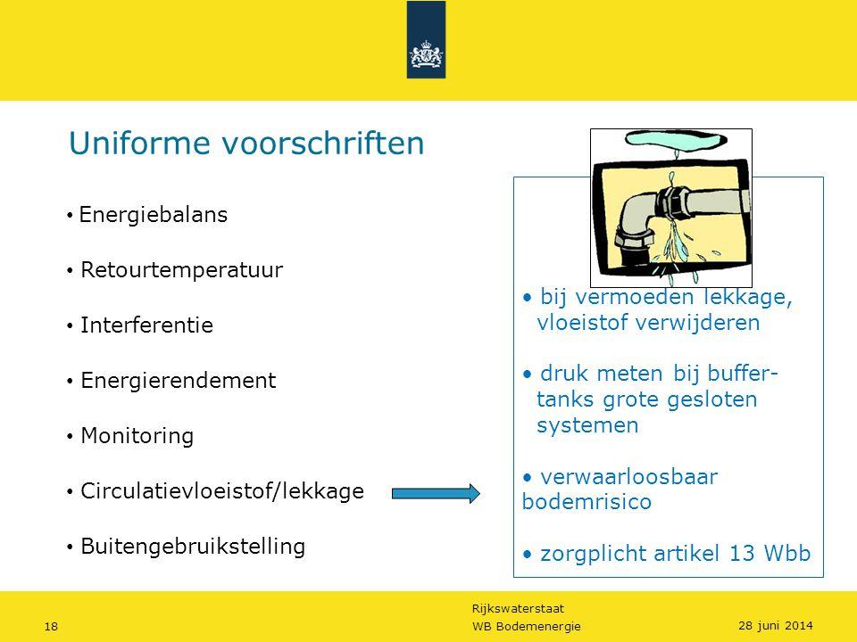 Rijkswaterstaat 18WB Bodemenergie Uniforme voorschriften • bij vermoeden lekkage, vloeistof verwijderen • druk meten bij buffer- tanks grote gesloten