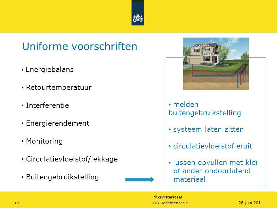 Rijkswaterstaat 19WB Bodemenergie Uniforme voorschriften • melden buitengebruikstelling • systeem laten zitten • circulatievloeistof eruit • lussen op
